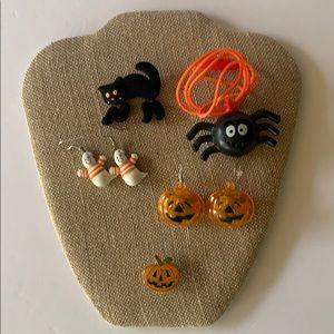 Halloween Hallmark bundle earrings, necklace